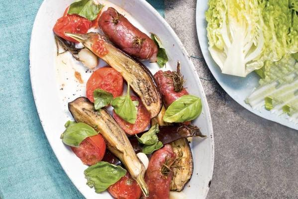 salad with eggplant and rosemary sausages