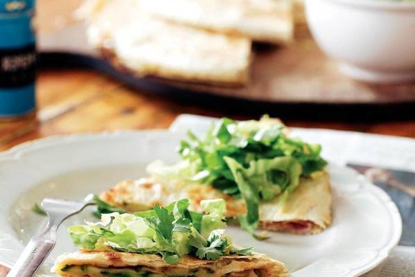 quesadillas with zucchini and ham