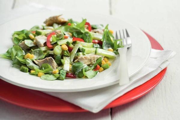 fresh salad with mackerel