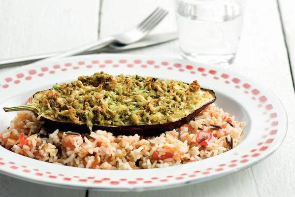 stuffed aubergines with tomato rice