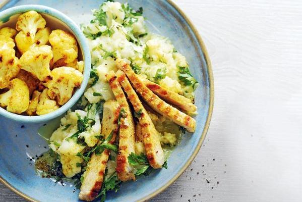pork fillet strips, curry cauliflower and celeriac purée