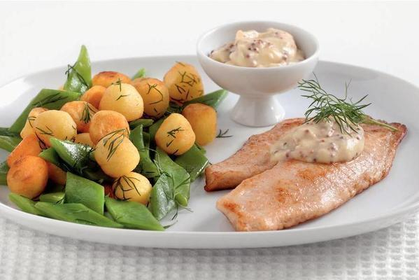 tilapia with baby potatoes and string beans
