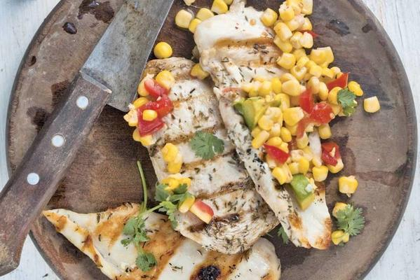 grilled chicken with avocado and corn