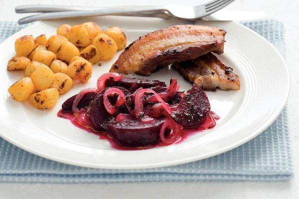 bacon steak with sweet-sour beetroot