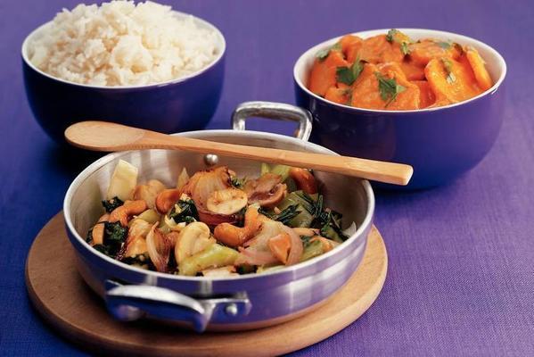 stir-fried mushrooms with tah tsai
