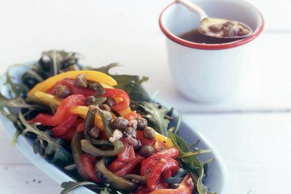 grilled pepper salad with anchovy dressing