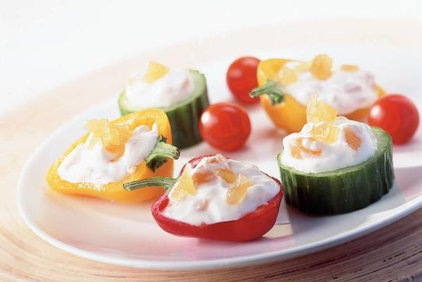 mini-vegetable filled with ginger cheese