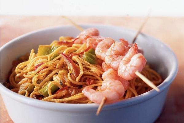 mision dish with shrimp skewers