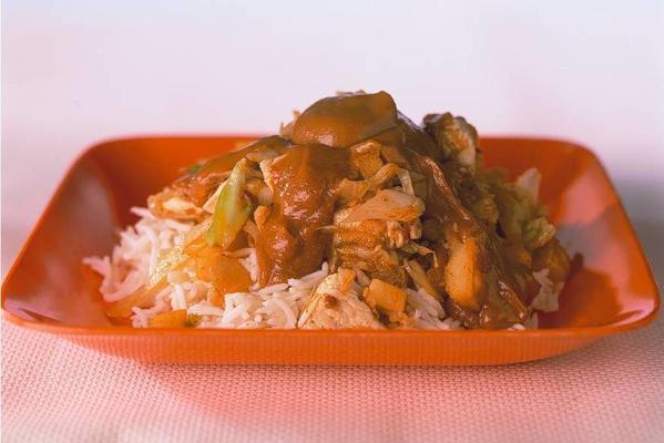 cabbage dish with satay sauce
