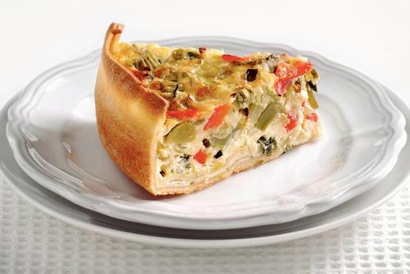 cream cheese cake with vegetables and thyme