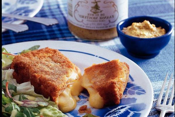 ham cheese schnitzel with zaanse mustard