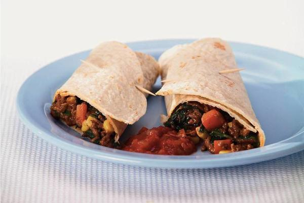 colorful vegetable tortillas with minced meat