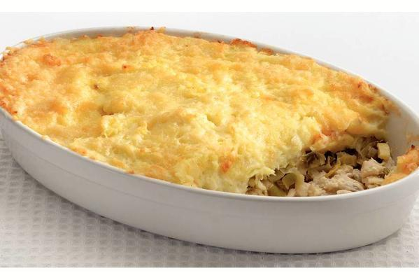 casserole with fish and mashed potatoes