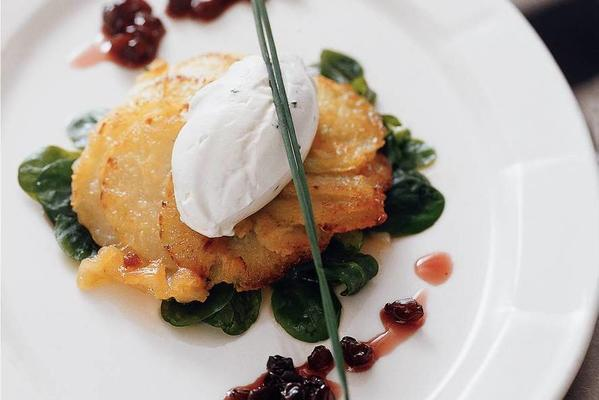 fried kohlrabi with cardamom and goat's cheese