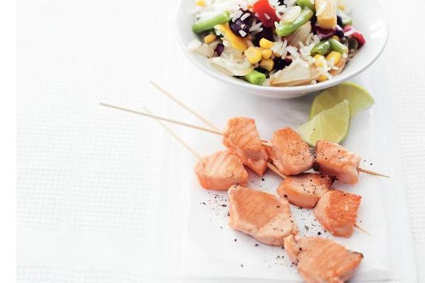 salmon skewers with wok rice