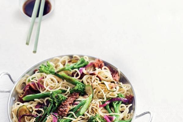 stir-fried steak with asparagus broccoli and noodles
