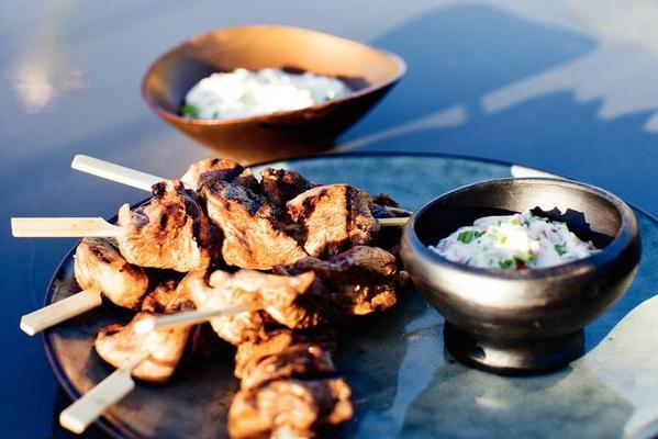 chicken skewers with herb mayo