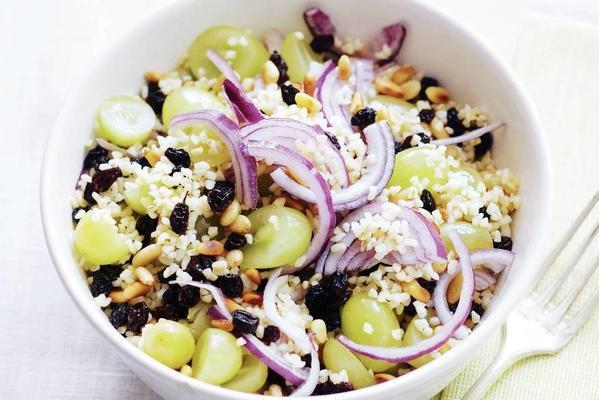 bulgur with grapes and pine nuts
