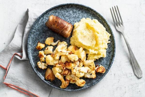roasted cauliflower with slavink and mashed potatoes