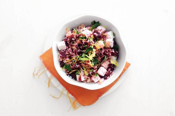 beet couscous with parsley