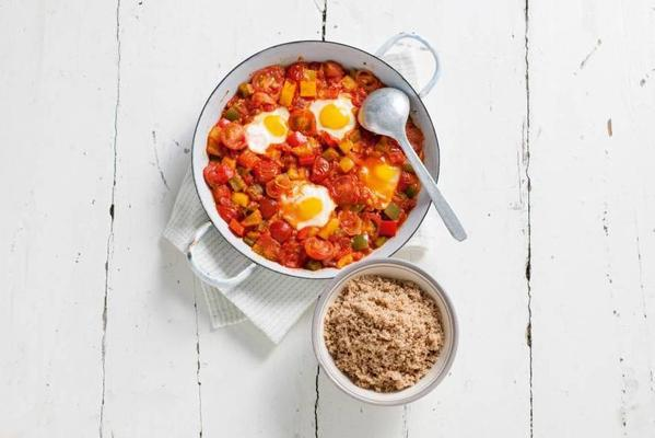 Mediterranean vegetable stew with spelled couscous and egg