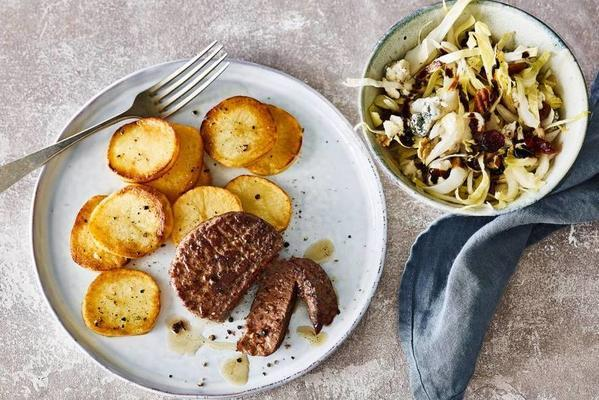 perfectly cooked potatoes with tartar and chicory salad