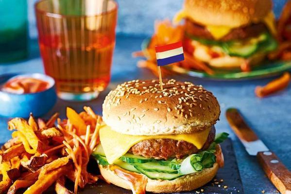 king burger with sweet potato cane