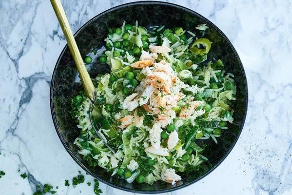 rice dish with crab and garden peas