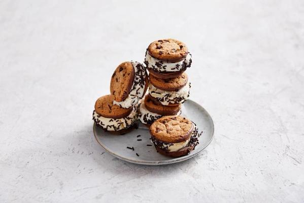 ice-cream sandwich with chocolate chip cookies