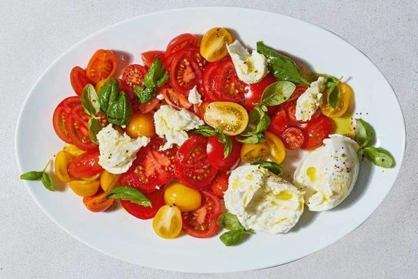 marinated tomato salad with basil and mozzarella