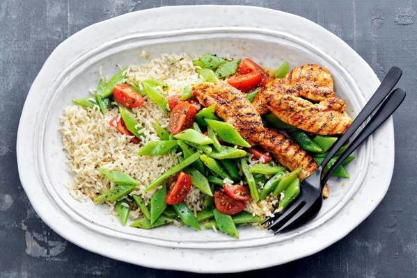 brown rice with grilled chicken tenderloins