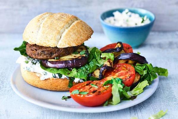 italian mushroom burger with grilled eggplant
