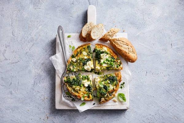 frittata with green vegetables and feta