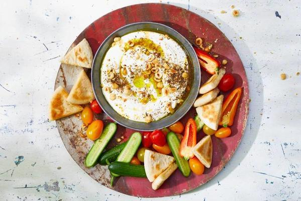 labneh with fried pit points and sweet vegetables