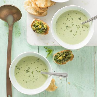 pea soup and bruschetta with mint pistachio tapenade