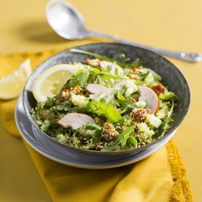 lukewarm couscous salad with raisins and smoked chicken