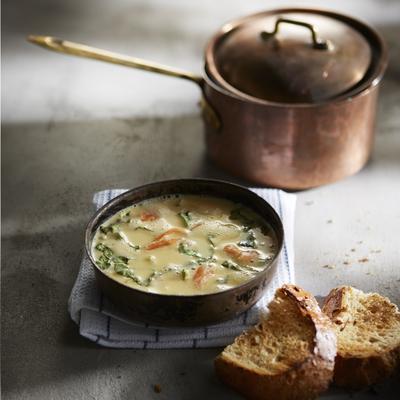salmon soup with bok choy