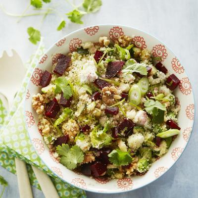 couscous with zucchini, beetroot and walnuts