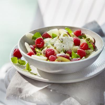 fruit salad with mint and pistachio