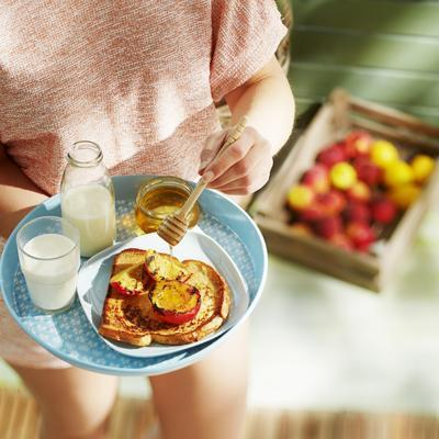 French toast with grilled nectarines