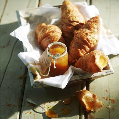 croissants with homemade vanilla apricot jam
