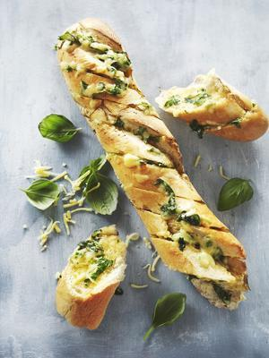 baguette with herb butter and cheese