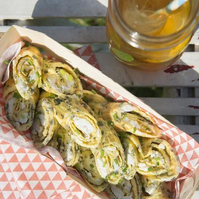 omelet rolls with feta and herbs