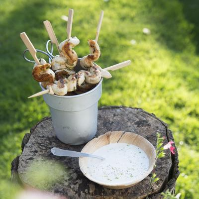 grilled chicken skewers with lime dip