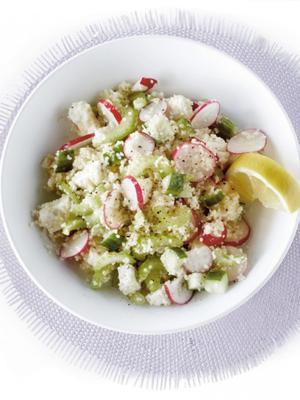 couscous salad with cheese and vegetables