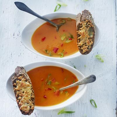 red pepper soup with cheese crouton