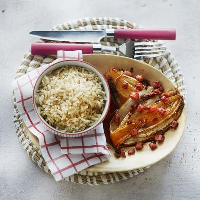 caramelized chicory with crispy bacon and brown rice