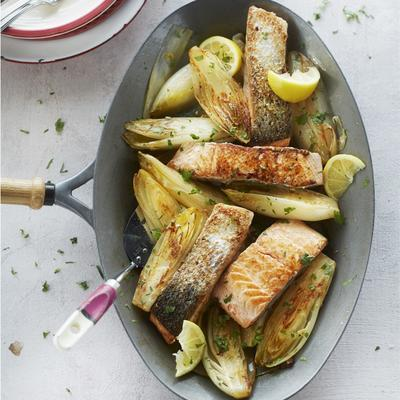 braised chicory with salmon