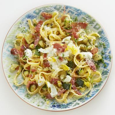 tagliatelle with lemon ricotta, raw ham and egg mimosa