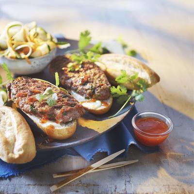 korean burger with pickled vegetables